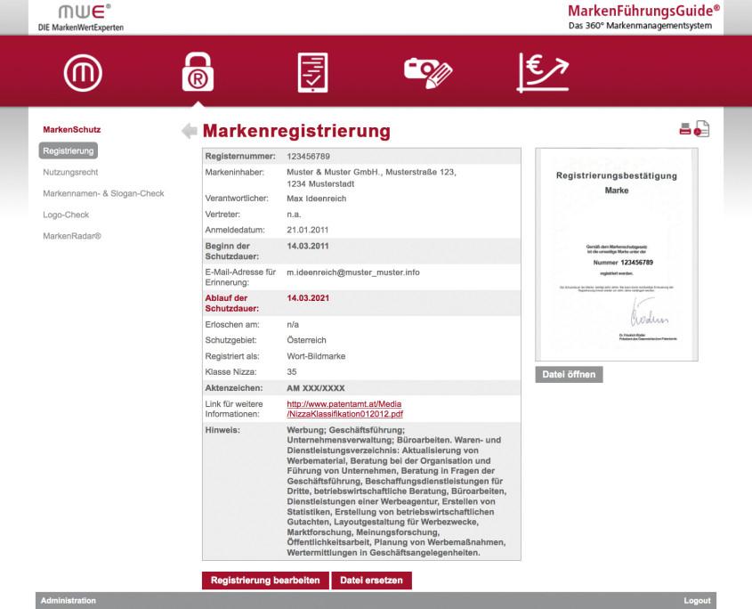 Verwaltung von Registrierungs- und Lizenzurkunden