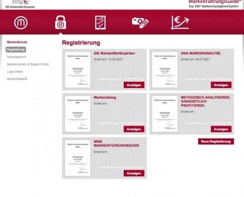 Verwaltung der Registrierungsurkunden