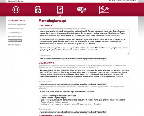 Screenshot Marketingkonzept