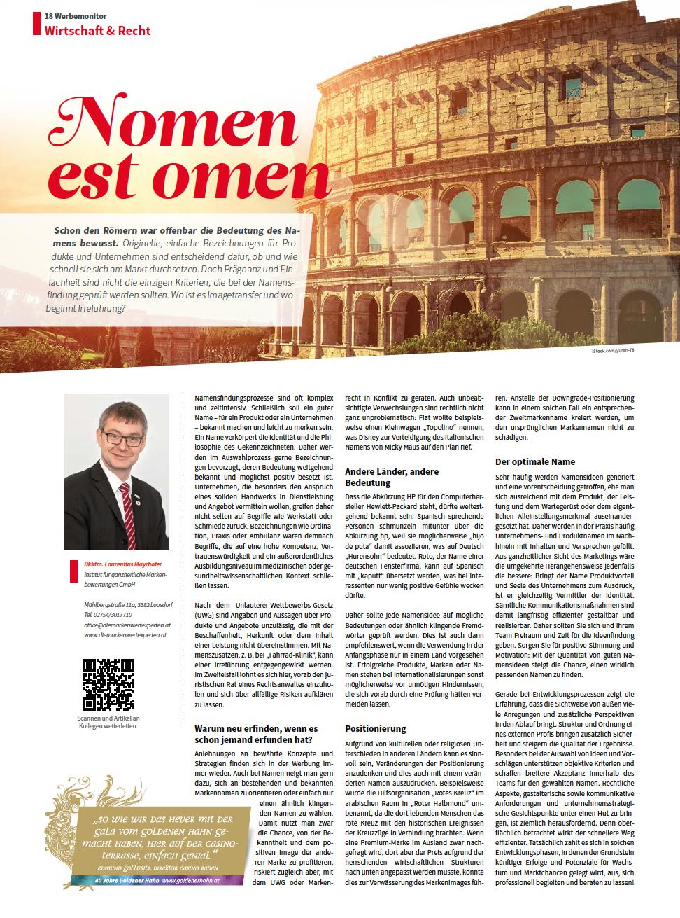 nomen est Omen - Fachartikel über Namensfindung für Produkte, Marken und Unternehmen