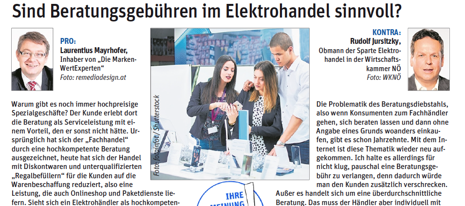 NÖN Landeszeitung Pro & Kontra Sind Beratungsgebühren im Elektrohandel sinnvoll