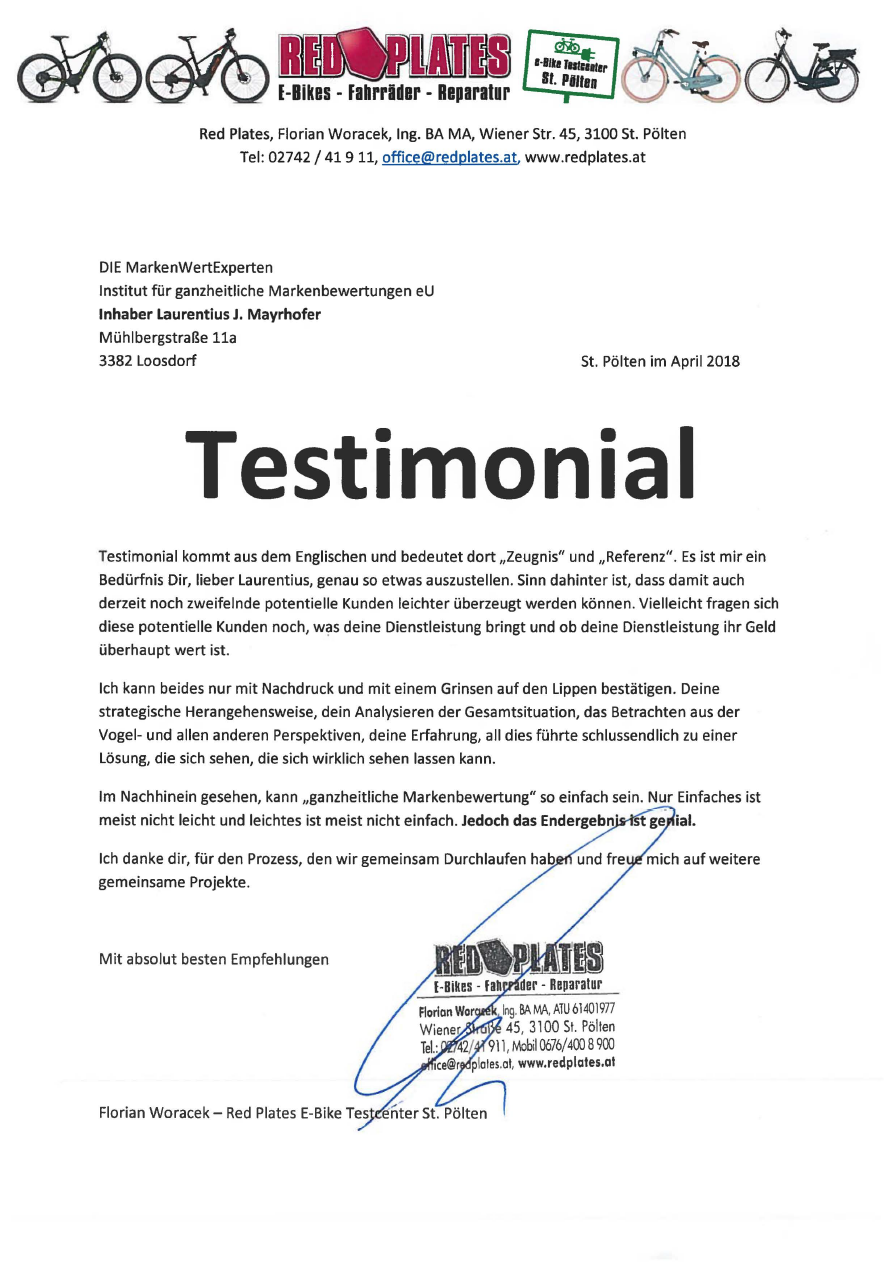 Testimonial von RedPlates an MWE