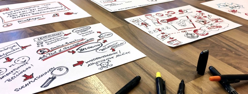 Vortragsvorbereitung mittels Sketchnotes mit Stiften