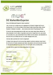 Testimonial von Kurt Lapiere Physiotherapie an DIE MarkenWertExperten